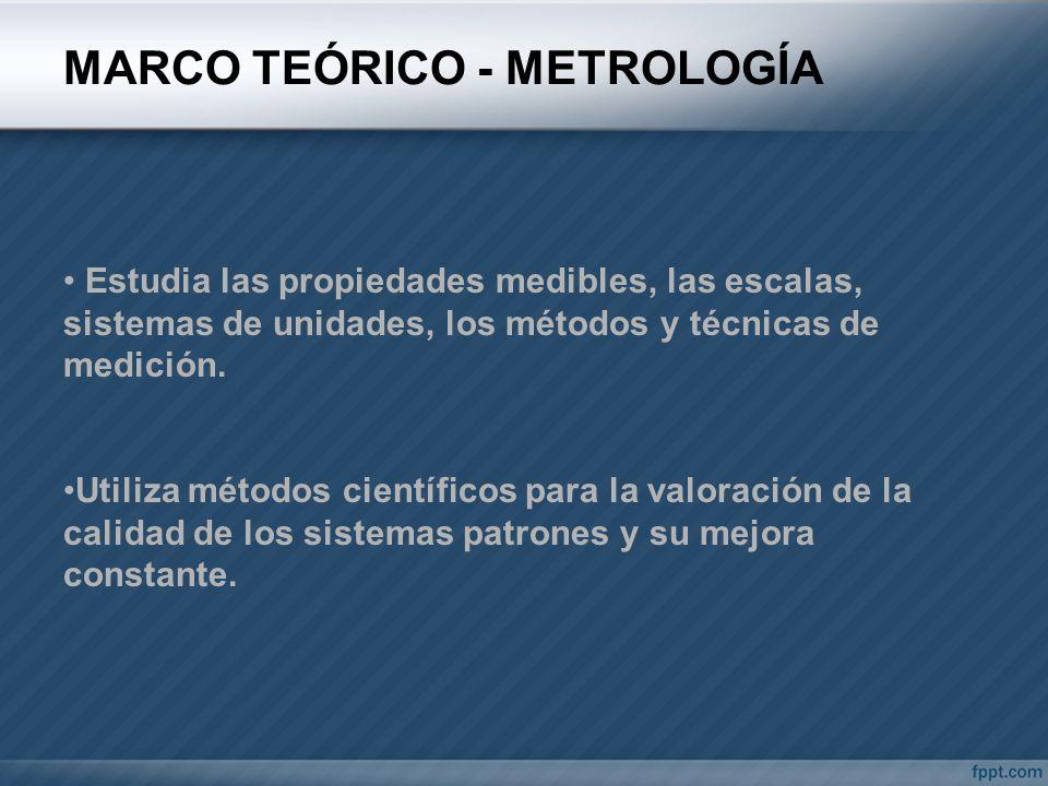 MARCO TEÓRICO - METROLOGÍA Estudia las propiedades medibles, las escalas, sistemas de unidades, los métodos y técnicas de medición. Utiliza métodos ci