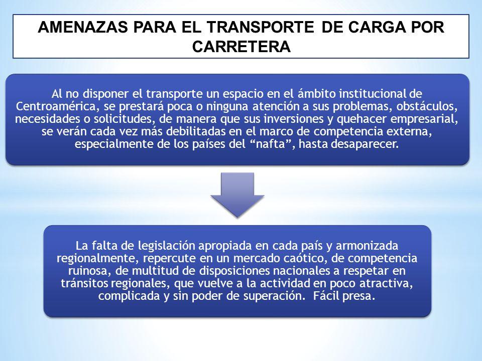 AMENAZAS PARA EL TRANSPORTE DE CARGA POR CARRETERA Al no disponer el transporte un espacio en el ámbito institucional de Centroamérica, se prestará po