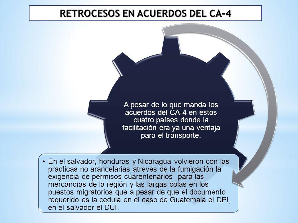 RETROCESOS EN ACUERDOS DEL CA-4 A pesar de lo que manda los acuerdos del CA-4 en estos cuatro países donde la facilitación era ya una ventaja para el