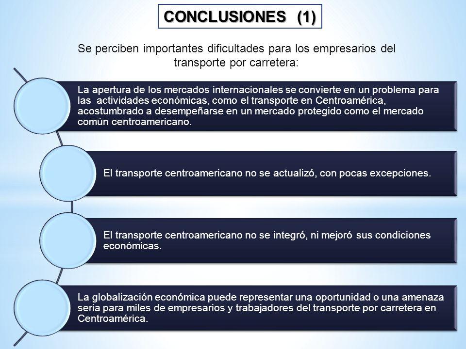 CONCLUSIONES (1) La apertura de los mercados internacionales se convierte en un problema para las actividades económicas, como el transporte en Centro