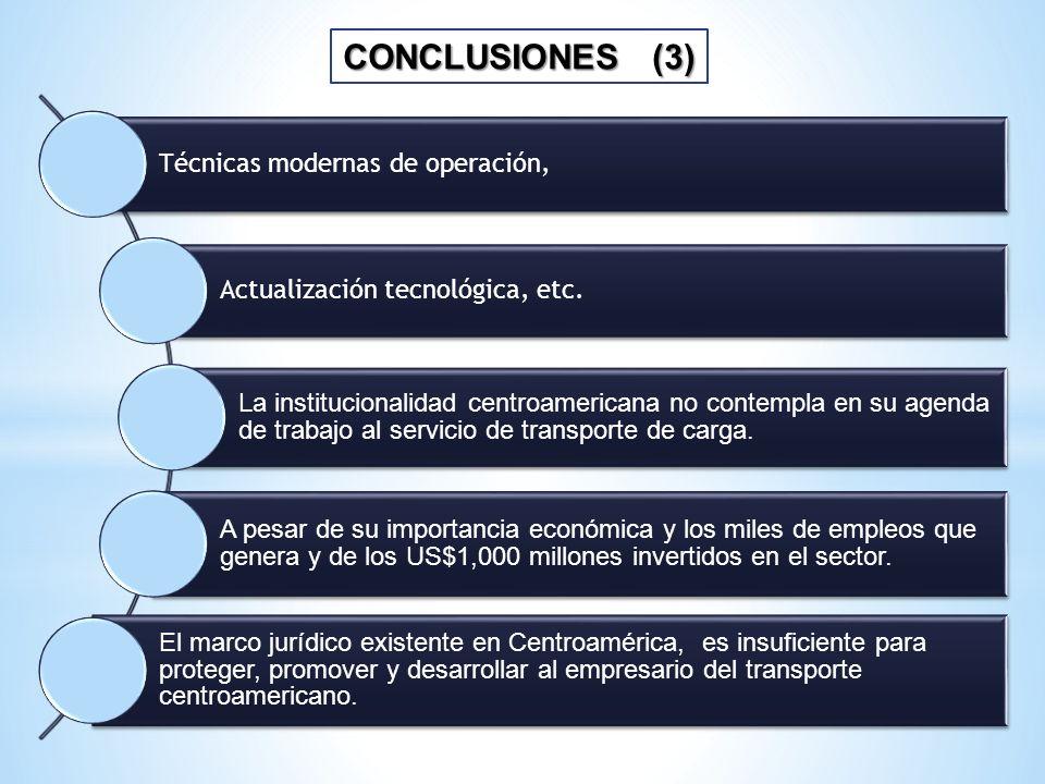 CONCLUSIONES (3) Técnicas modernas de operación, Actualización tecnológica, etc. La institucionalidad centroamericana no contempla en su agenda de tra