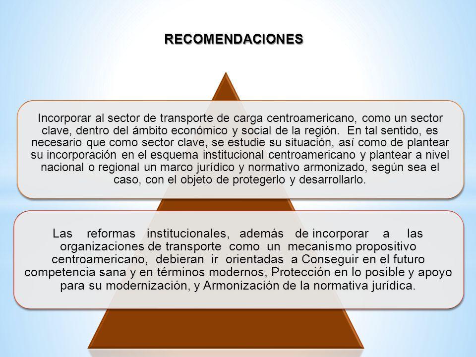 RECOMENDACIONES Incorporar al sector de transporte de carga centroamericano, como un sector clave, dentro del ámbito económico y social de la región.