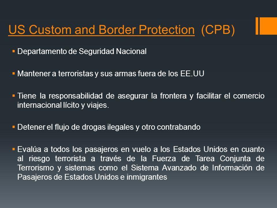 US Custom and Border Protection (CPB) Departamento de Seguridad Nacional Mantener a terroristas y sus armas fuera de los EE.UU Tiene la responsabilida