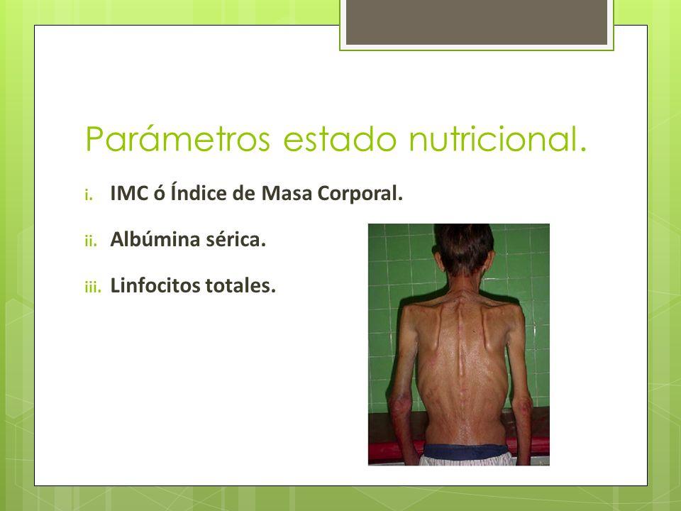 Parámetros estado nutricional.i. IMC ó Índice de Masa Corporal.