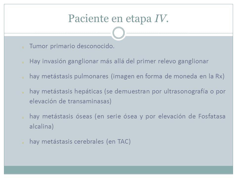 Paciente en etapa IV.o Tumor primario desconocido.