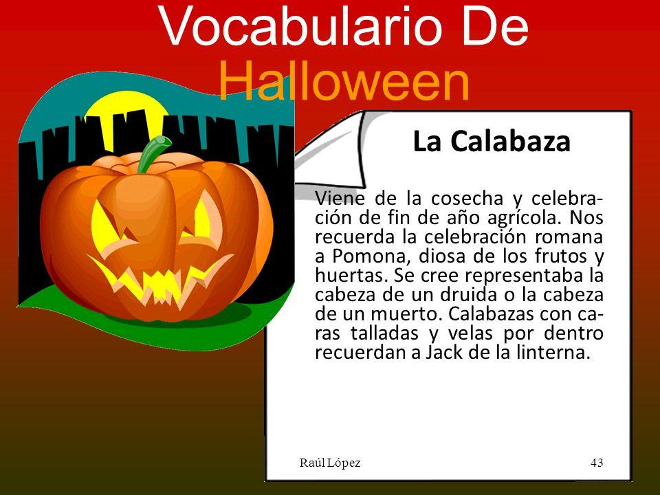 La Calabaza Vocabulario De Halloween Viene de la cosecha y celebra- ción de fin de año agrícola. Nos recuerda la celebración romana a Pomona, diosa de