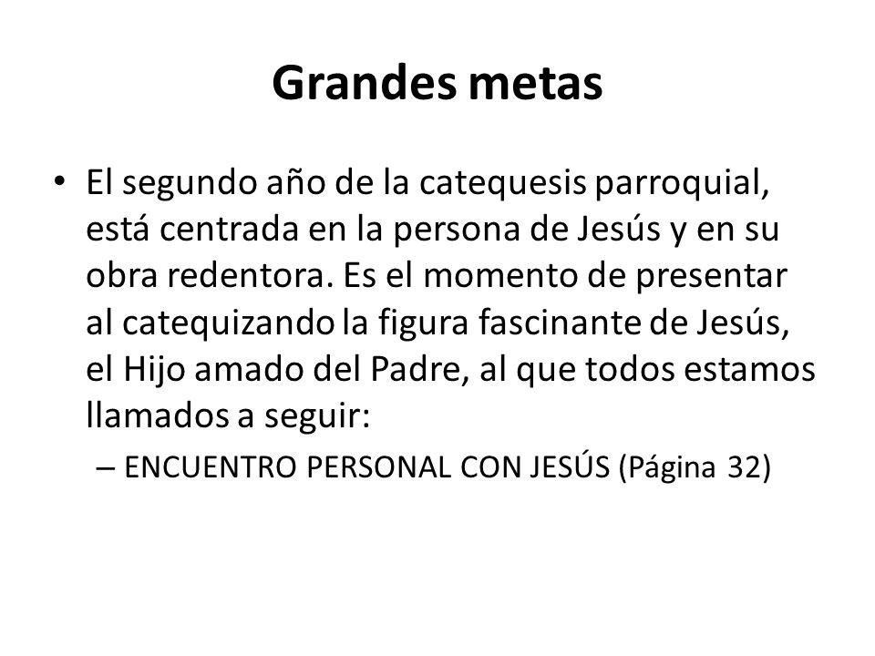 Grandes metas El segundo año de la catequesis parroquial, está centrada en la persona de Jesús y en su obra redentora.