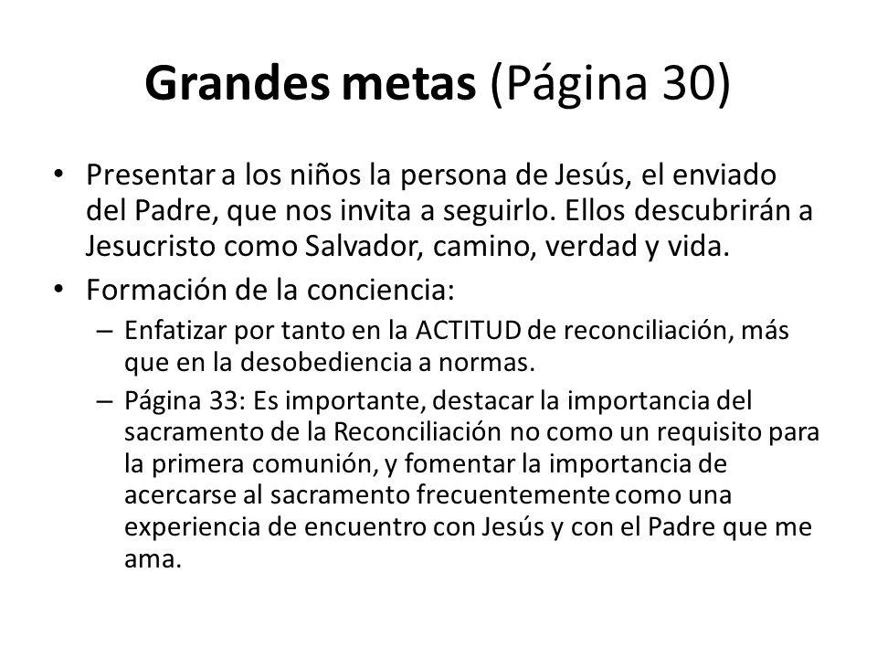 Grandes metas (Página 30) Presentar a los niños la persona de Jesús, el enviado del Padre, que nos invita a seguirlo.