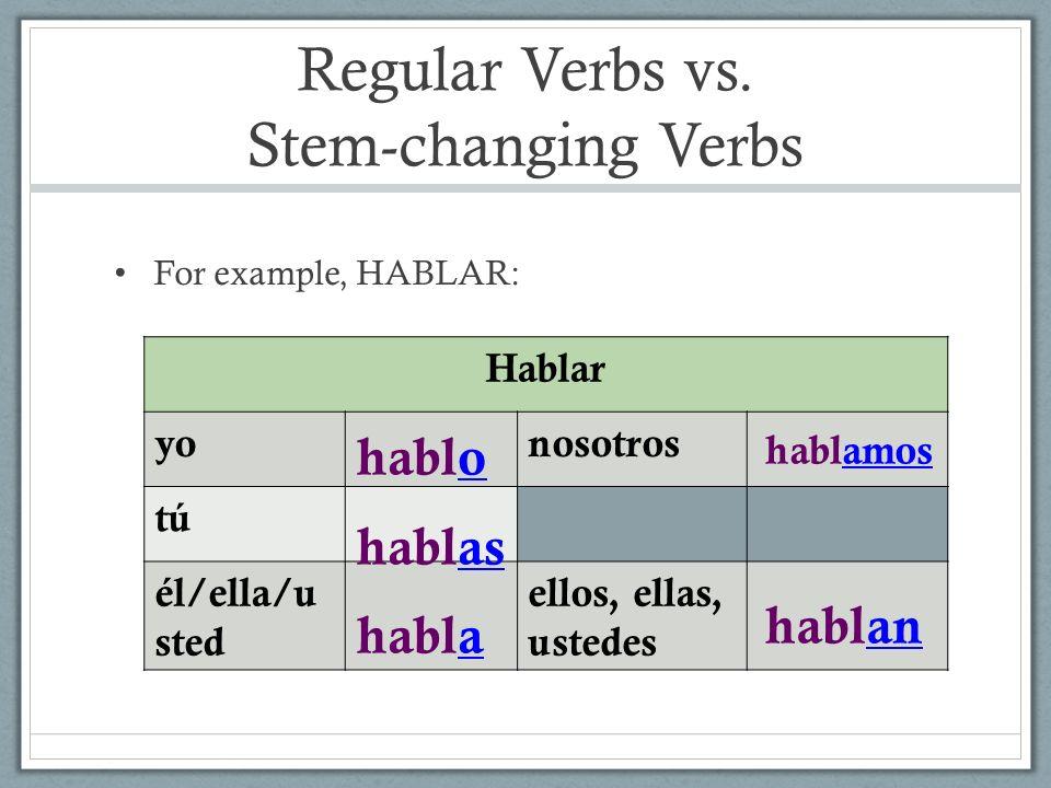 Regular Verbs vs. Stem-changing Verbs For example, HABLAR: Hablar yonosotros tú él/ella/u sted ellos, ellas, ustedes hablo hablas habla hablamos habla