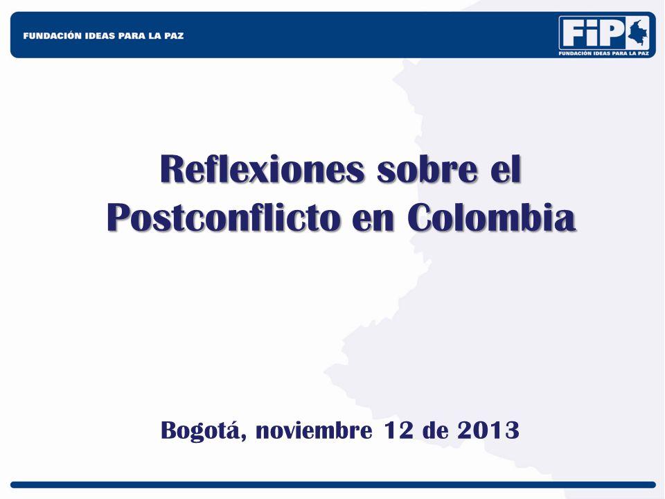 Postconflicto sin paz sostenible Colombia ya ha tenido múltiples elementos de postconflicto: –Desmovilizaciones de los años 1990-1994 –Desmovilización de las AUC 2003-2006 –Desmovilizaciones individuales 2002-al presente –Ley de Justicia y Paz (Ley 975 de 2005) –Ley de Víctimas (Ley 1448 de 2011) –Múltiples iniciativas de construcción de paz (Programas Desarrollo y Paz – Emprender Paz)