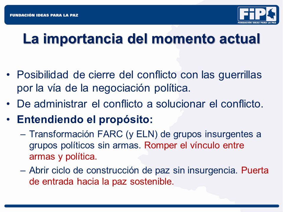 La importancia del momento actual Posibilidad de cierre del conflicto con las guerrillas por la vía de la negociación política. De administrar el conf
