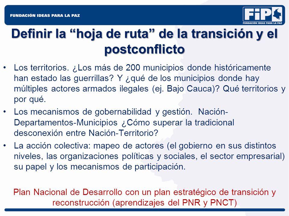 Definir la hoja de ruta de la transición y el postconflicto Los territorios. ¿Los más de 200 municipios donde históricamente han estado las guerrillas