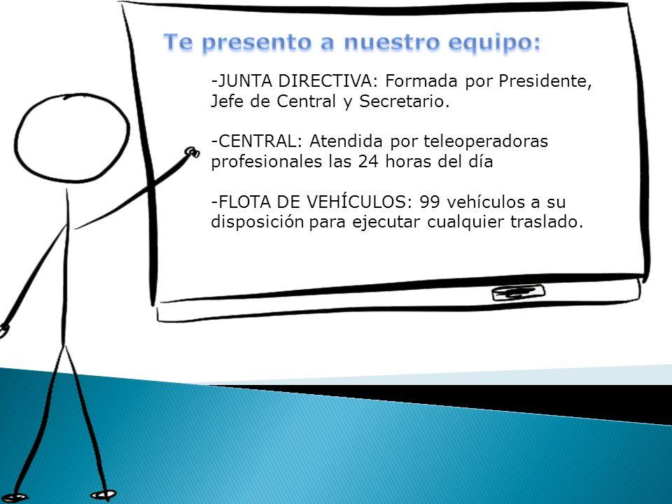 -JUNTA DIRECTIVA: Formada por Presidente, Jefe de Central y Secretario. -CENTRAL: Atendida por teleoperadoras profesionales las 24 horas del día -FLOT