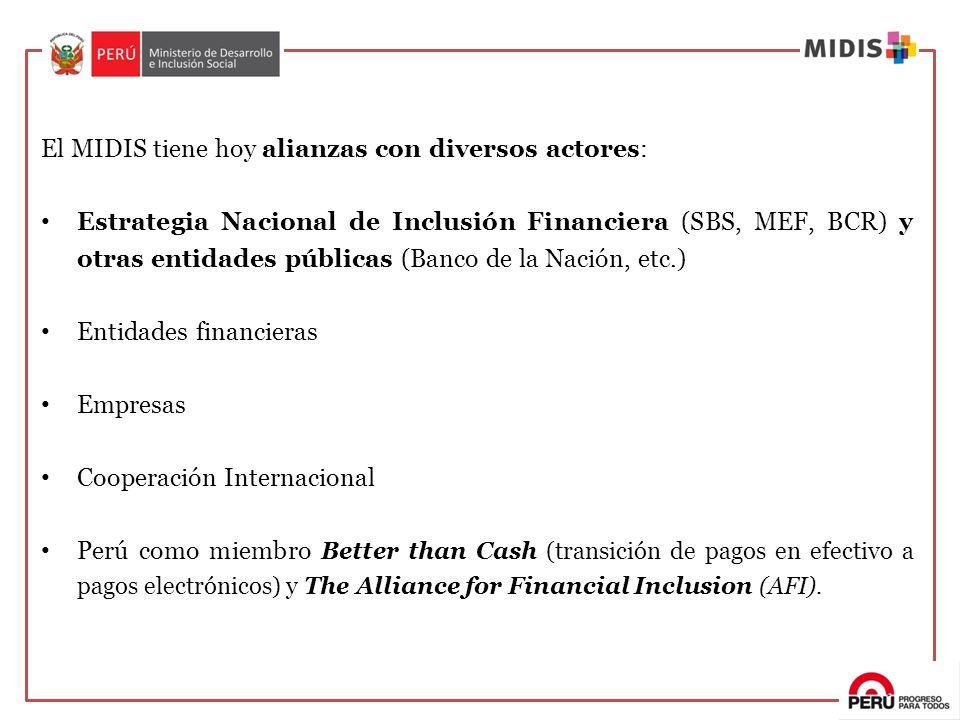 El MIDIS tiene hoy alianzas con diversos actores: Estrategia Nacional de Inclusión Financiera (SBS, MEF, BCR) y otras entidades públicas (Banco de la