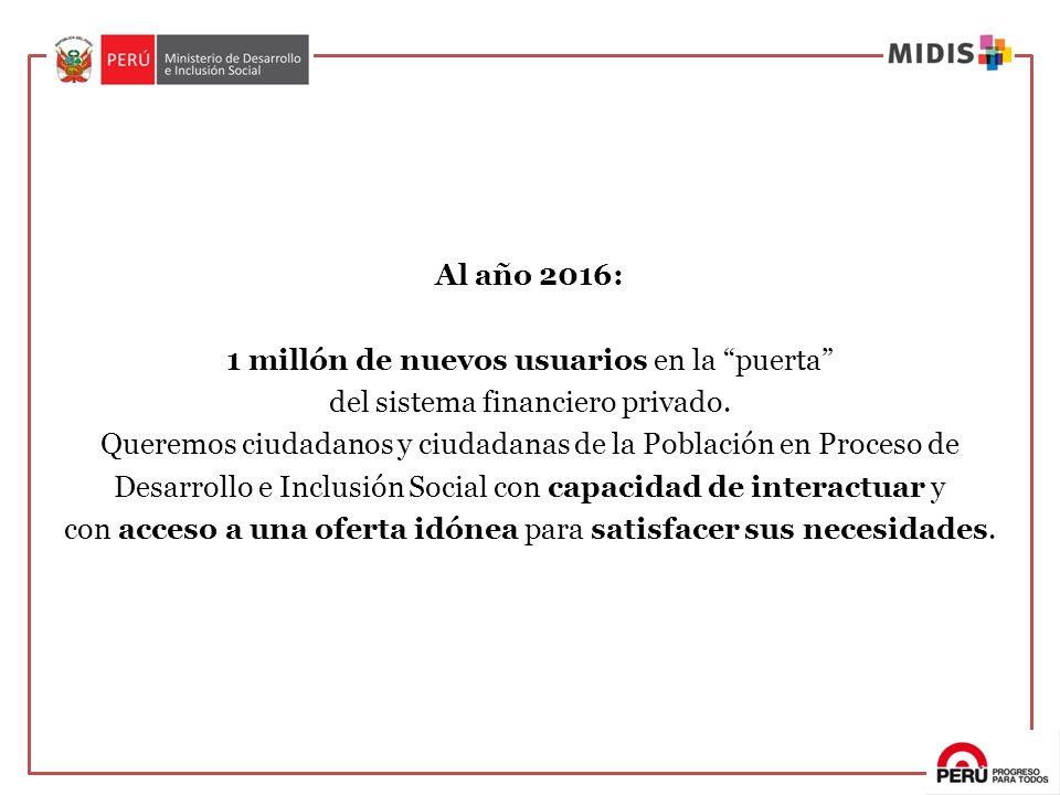 Al año 2016: 1 millón de nuevos usuarios en la puerta del sistema financiero privado. Queremos ciudadanos y ciudadanas de la Población en Proceso de D