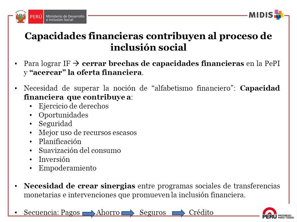 Para lograr IF cerrar brechas de capacidades financieras en la PePI y acercar la oferta financiera. Necesidad de superar la noción de alfabetismo fina