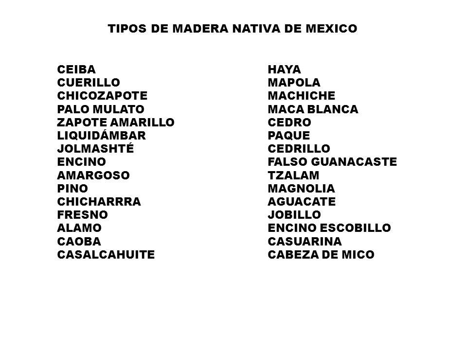 TIPOS DE MADERA NATIVA DE MEXICO CEIBAHAYA CUERILLOMAPOLA CHICOZAPOTEMACHICHE PALO MULATOMACA BLANCA ZAPOTE AMARILLOCEDRO LIQUIDÁMBARPAQUE JOLMASHTÉCEDRILLO ENCINOFALSO GUANACASTE AMARGOSOTZALAM PINOMAGNOLIA CHICHARRRAAGUACATE FRESNOJOBILLO ALAMOENCINO ESCOBILLO CAOBACASUARINA CASALCAHUITECABEZA DE MICO