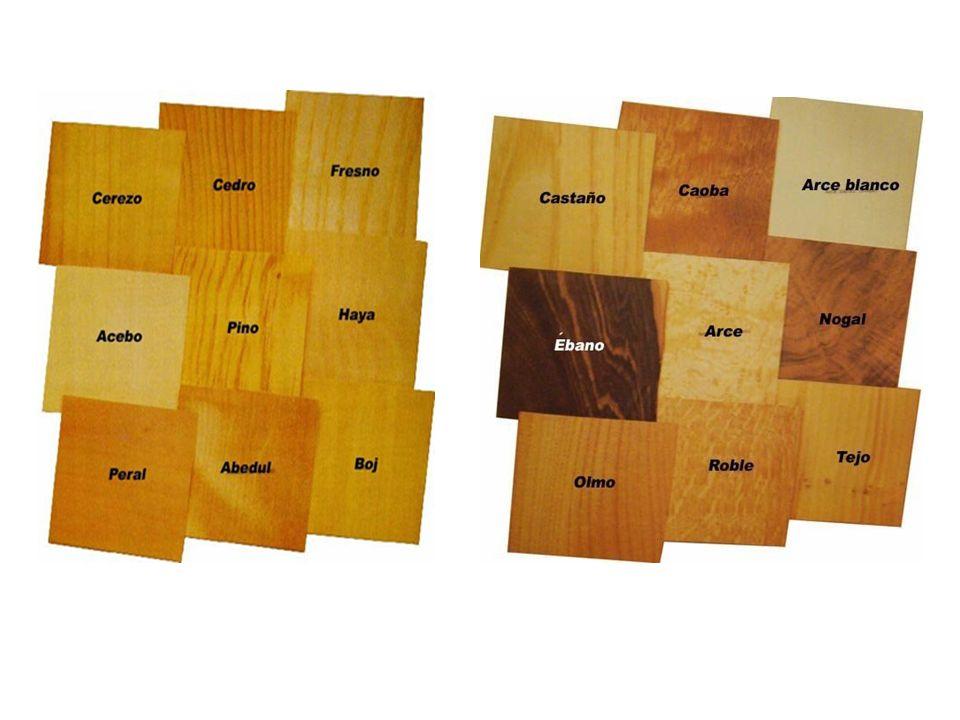 ALGUNOS TIPOS DE MADERA TECA (tectona grandis) Burma Tailandia Durabilidad: Muy durable Densidad: 660kg/m2 Procesabilidad: Media Aplicaciones: Mobiliario resistente a los aceites POPLAR (liriodendron tapfore) Norteamérica Durabilidad: Poco durable Densidad: 510kg/m2 Procesabilidad: Media Aplicaciones: Mobiliario, excelente para pinturas, muy sensible a la humedad ABETO (pseudotsuga menzies) Norteamérica Durabilidad: Moderada Densidad: 530kg/m2 Procesabilidad: Buena Aplicaciones: Mobiliario, construcción, evitar contacto con clavos