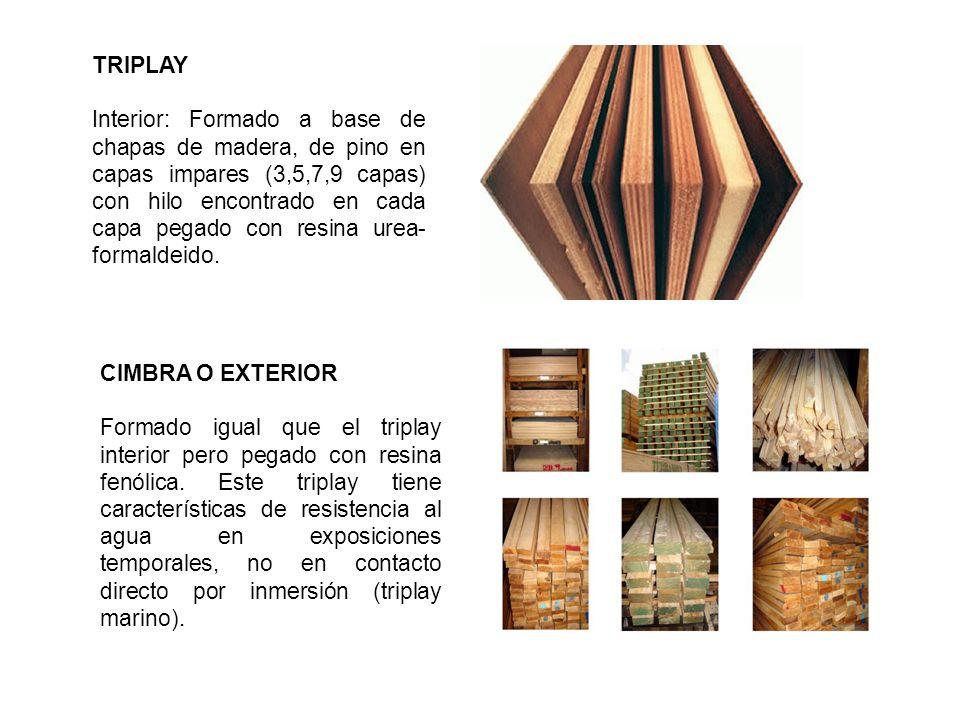 TRIPLAY Interior: Formado a base de chapas de madera, de pino en capas impares (3,5,7,9 capas) con hilo encontrado en cada capa pegado con resina urea- formaldeido.