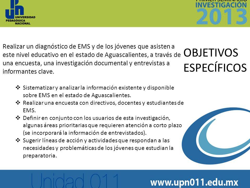 Realizar un diagnóstico de EMS y de los jóvenes que asisten a este nivel educativo en el estado de Aguascalientes, a través de una encuesta, una inves