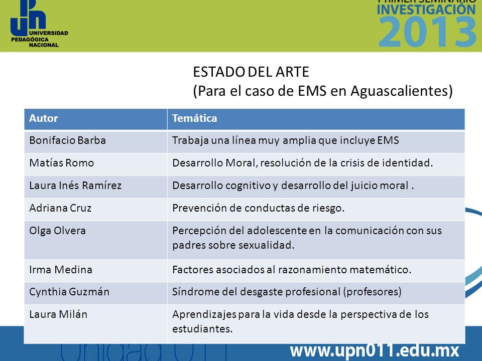 AutorTemática Bonifacio BarbaTrabaja una línea muy amplia que incluye EMS Matías RomoDesarrollo Moral, resolución de la crisis de identidad. Laura Iné