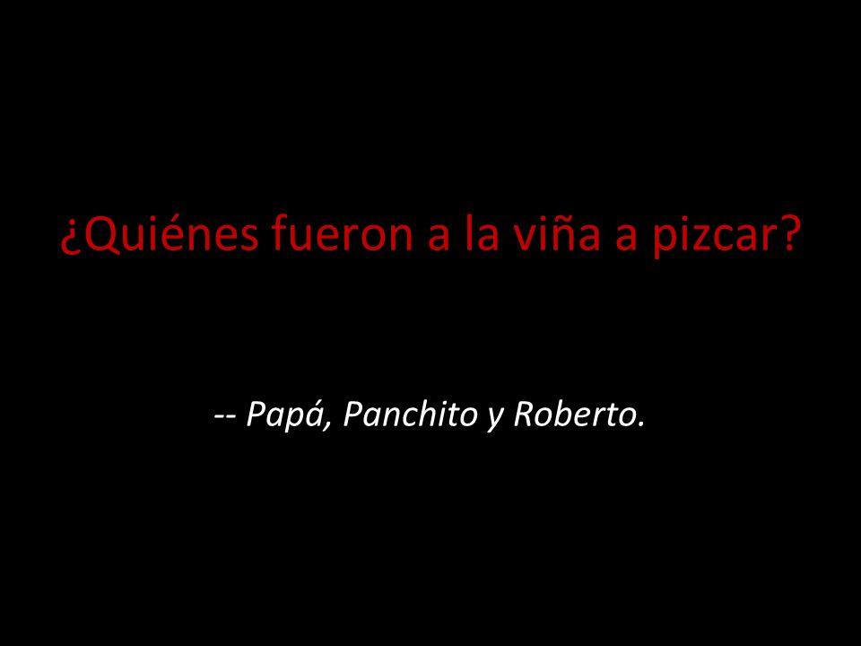 ¿Quiénes fueron a la viña a pizcar -- Papá, Panchito y Roberto.