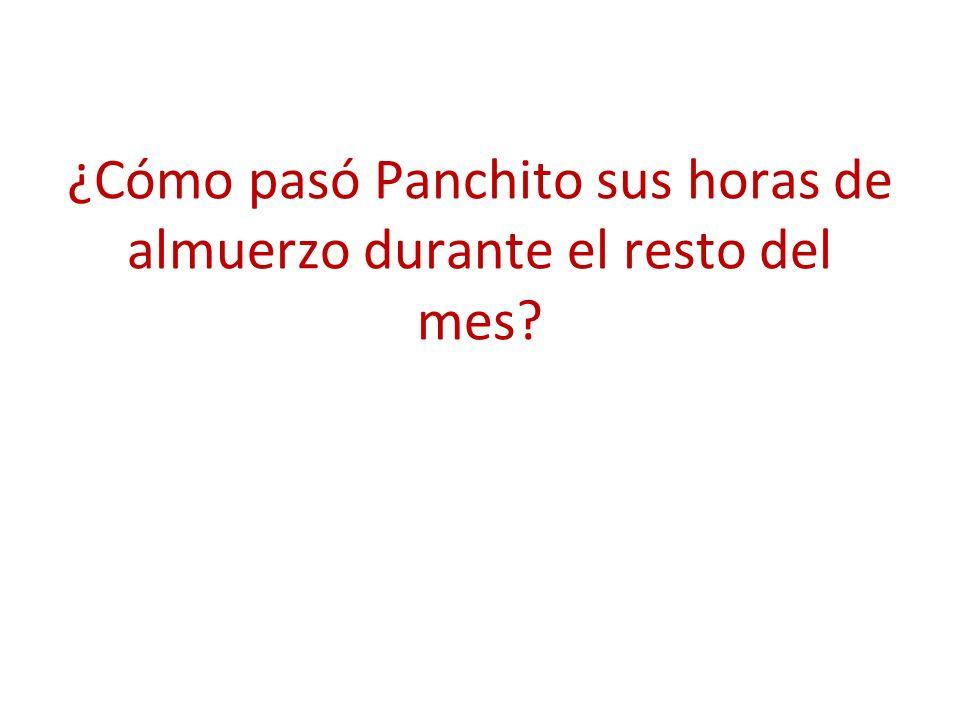 ¿Cómo pasó Panchito sus horas de almuerzo durante el resto del mes