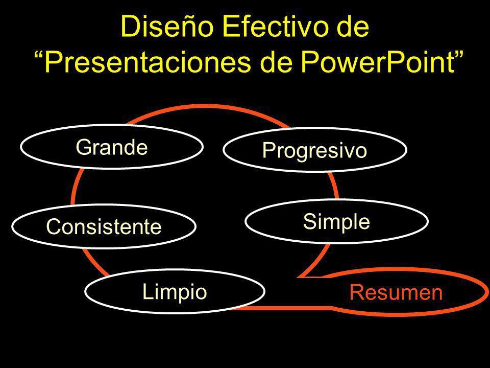 Diseño Efectivo de Presentaciones de PowerPoint Simple Consistente Limpio Grande Progresivo Resumen