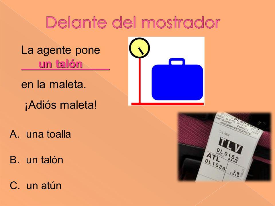 un talón ______________ La agente pone ______________ en la maleta.