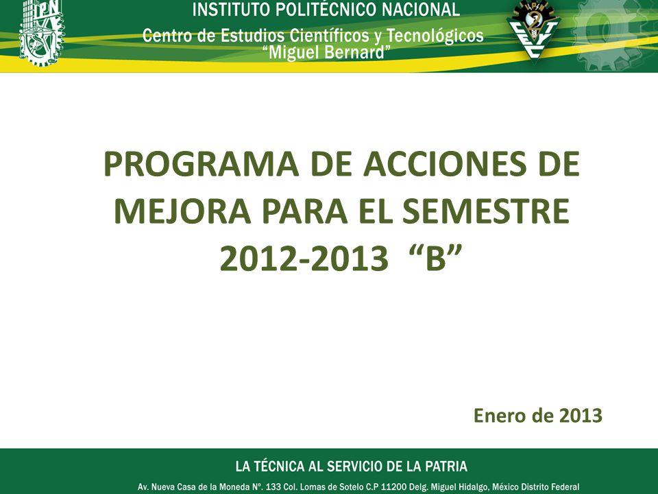 PROGRAMA DE ACCIONES DE MEJORA PARA EL SEMESTRE 2012-2013 B Enero de 2013