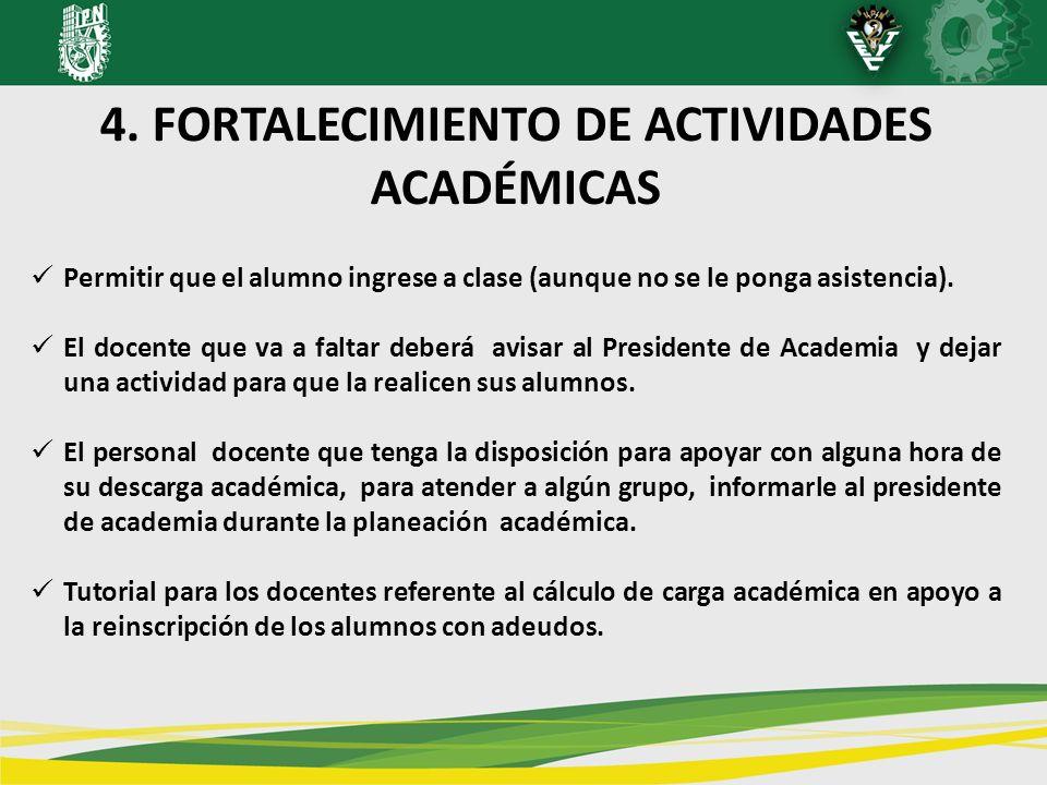 4. FORTALECIMIENTO DE ACTIVIDADES ACADÉMICAS Permitir que el alumno ingrese a clase (aunque no se le ponga asistencia). El docente que va a faltar deb