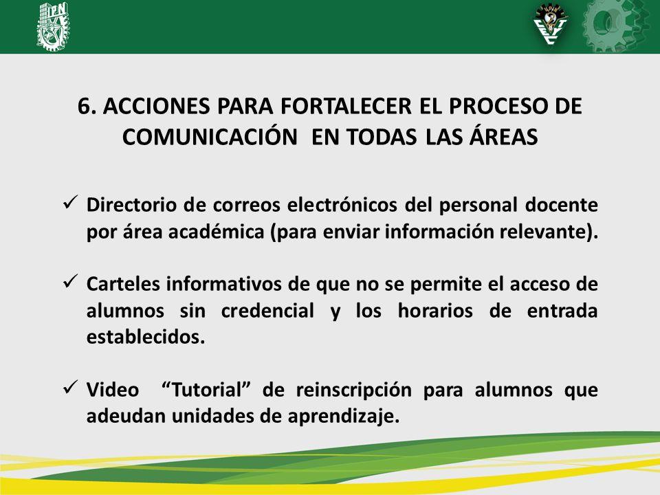 6. ACCIONES PARA FORTALECER EL PROCESO DE COMUNICACIÓN EN TODAS LAS ÁREAS Directorio de correos electrónicos del personal docente por área académica (