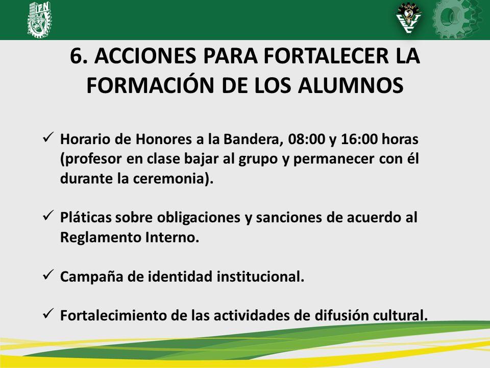 6. ACCIONES PARA FORTALECER LA FORMACIÓN DE LOS ALUMNOS Horario de Honores a la Bandera, 08:00 y 16:00 horas (profesor en clase bajar al grupo y perma