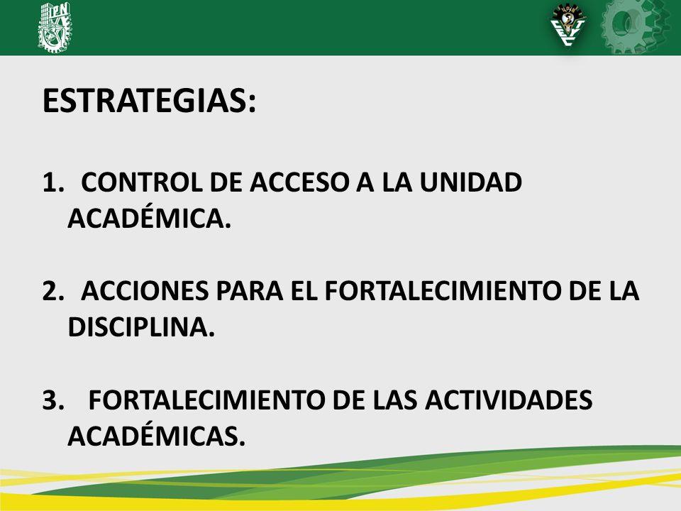 ESTRATEGIAS: 1. CONTROL DE ACCESO A LA UNIDAD ACADÉMICA. 2. ACCIONES PARA EL FORTALECIMIENTO DE LA DISCIPLINA. 3. FORTALECIMIENTO DE LAS ACTIVIDADES A