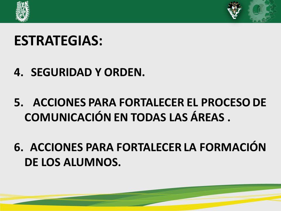 ESTRATEGIAS: 4. SEGURIDAD Y ORDEN. 5. ACCIONES PARA FORTALECER EL PROCESO DE COMUNICACIÓN EN TODAS LAS ÁREAS. 6. ACCIONES PARA FORTALECER LA FORMACIÓN