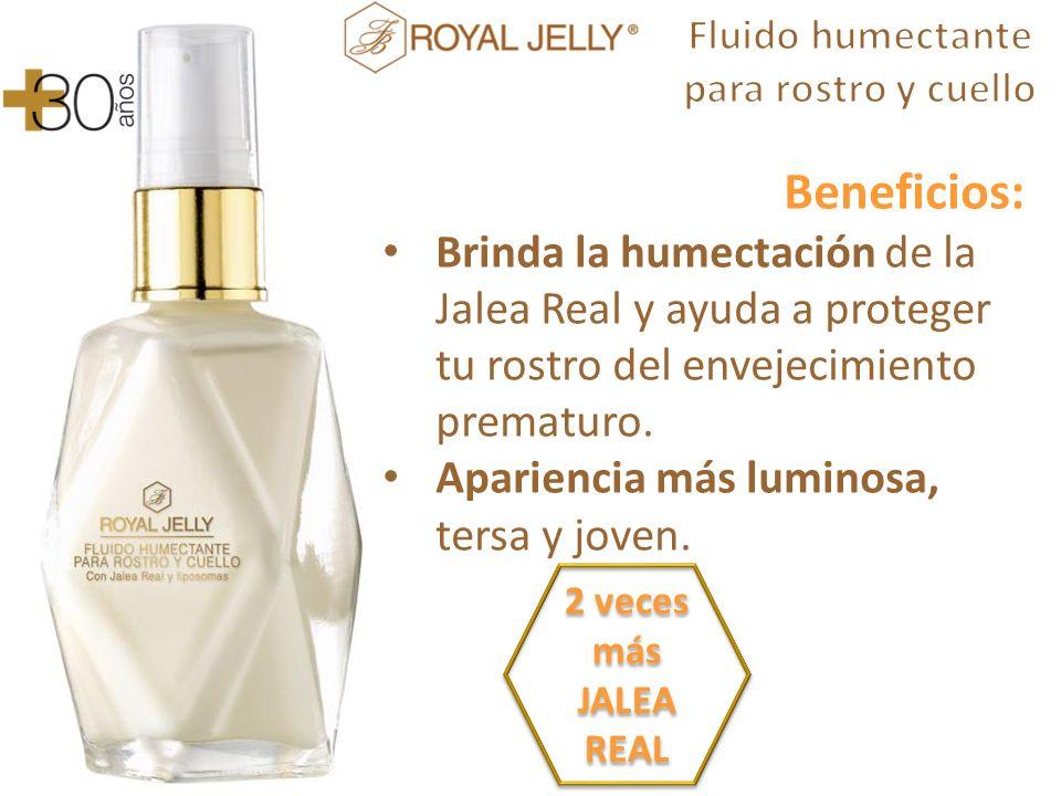 Beneficios: Brinda la humectación de la Jalea Real y ayuda a proteger tu rostro del envejecimiento prematuro.