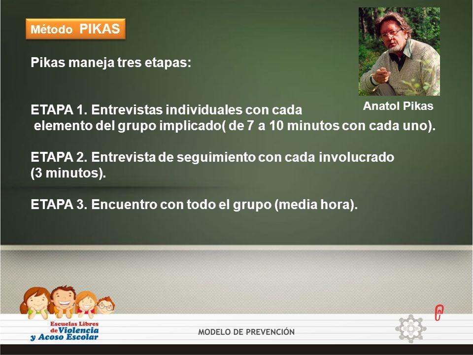 Método PIKAS Pikas maneja tres etapas: ETAPA 1. Entrevistas individuales con cada elemento del grupo implicado( de 7 a 10 minutos con cada uno). ETAPA