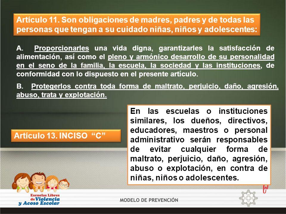 Artículo 11. Son obligaciones de madres, padres y de todas las personas que tengan a su cuidado niñas, niños y adolescentes: A. Proporcionarles una vi