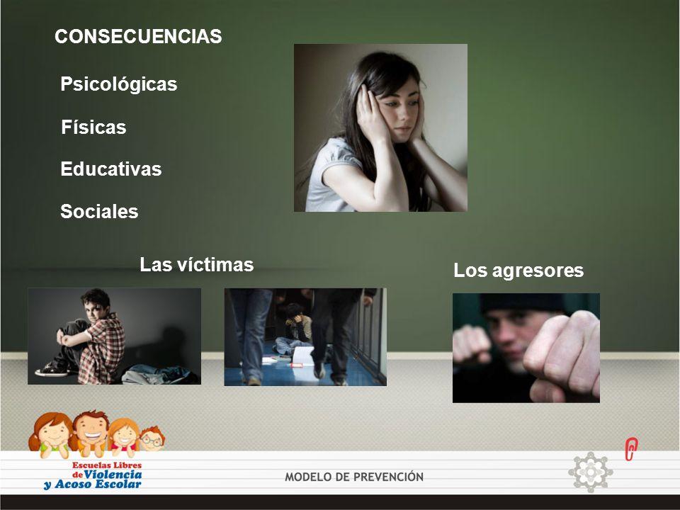Psicológicas Educativas Físicas Sociales CONSECUENCIAS Los agresores Las víctimas