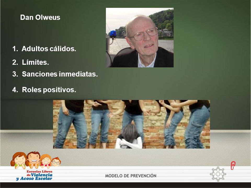 Dan Olweus 1. Adultos cálidos. 2. Límites. 3. Sanciones inmediatas. 4. Roles positivos.