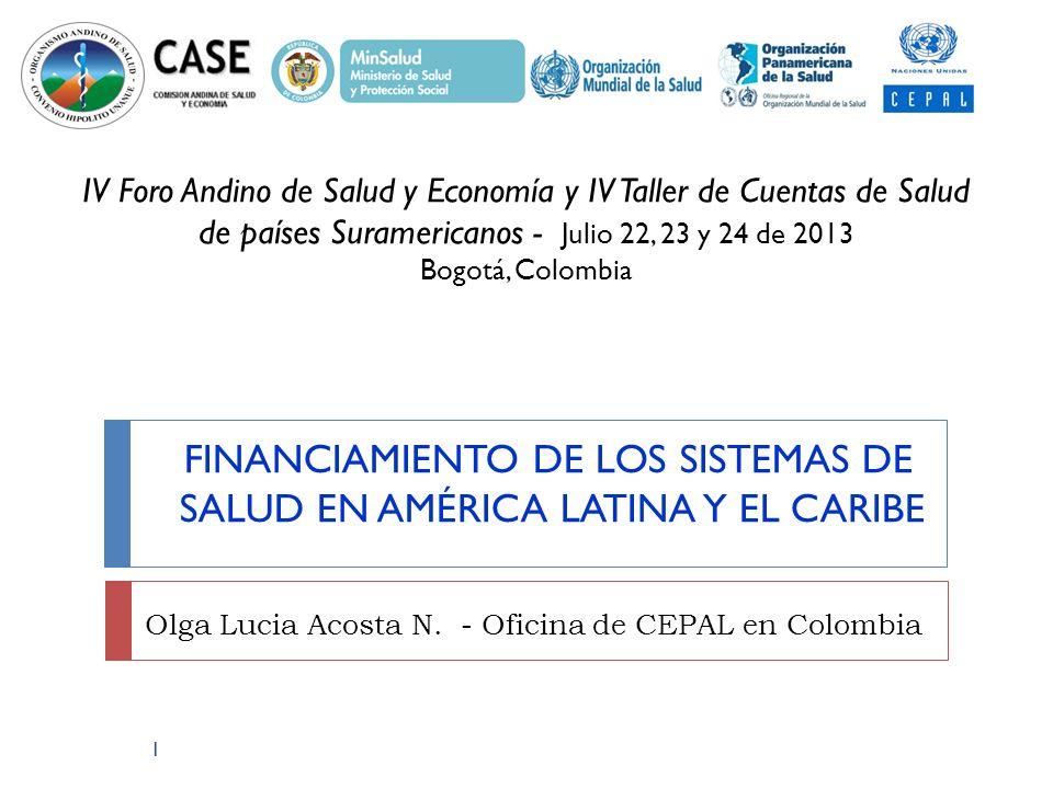 FINANCIAMIENTO DE LOS SISTEMAS DE SALUD EN AMÉRICA LATINA Y EL CARIBE Olga Lucia Acosta N. - Oficina de CEPAL en Colombia 1 IV Foro Andino de Salud y