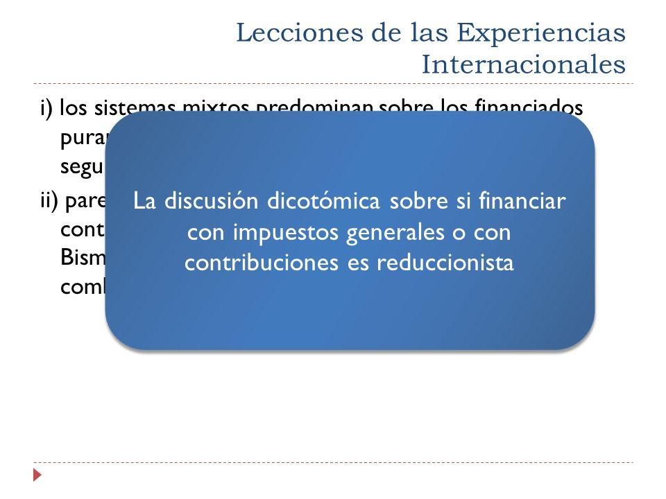 Lecciones de las Experiencias Internacionales i) los sistemas mixtos predominan sobre los financiados puramente con impuestos o con contribuciones de