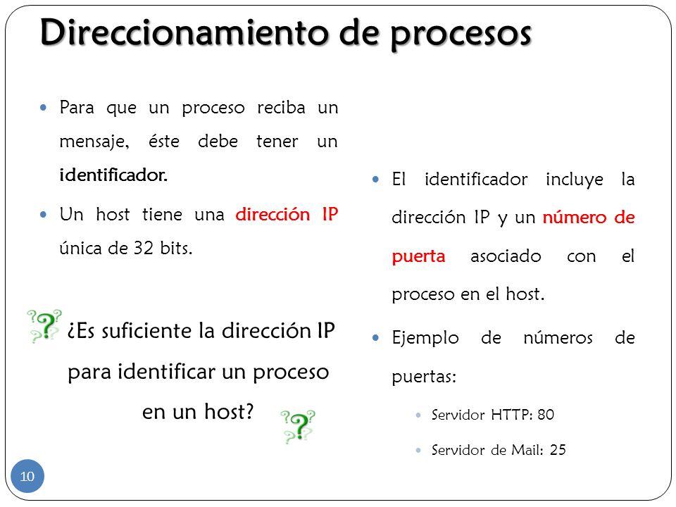 Para que un proceso reciba un mensaje, éste debe tener un identificador. Un host tiene una dirección IP única de 32 bits. ¿Es suficiente la dirección