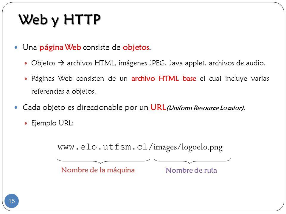Una página Web consiste de objetos. Objetos archivos HTML, imágenes JPEG, Java applet, archivos de audio. Páginas Web consisten de un archivo HTML bas