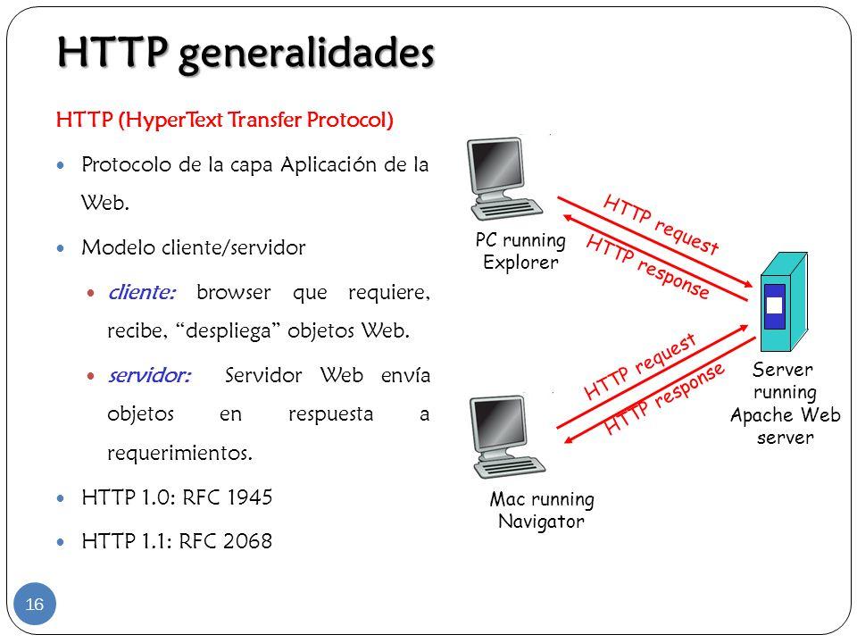 HTTP (HyperText Transfer Protocol) Protocolo de la capa Aplicación de la Web. Modelo cliente/servidor cliente: browser que requiere, recibe, despliega