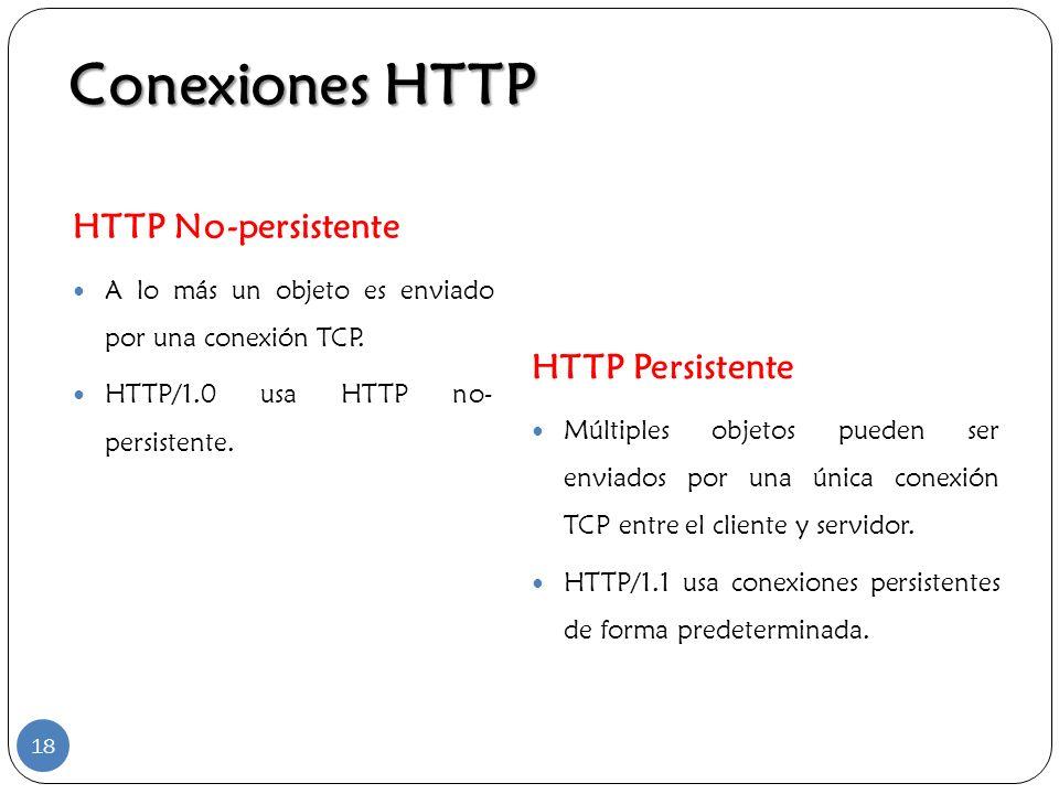 Conexiones HTTP HTTP No-persistente A lo más un objeto es enviado por una conexión TCP. HTTP/1.0 usa HTTP no- persistente. HTTP Persistente Múltiples