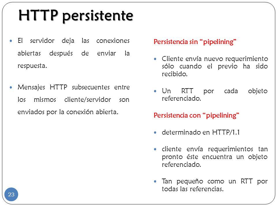 HTTP persistente El servidor deja las conexiones abiertas después de enviar la respuesta. Mensajes HTTP subsecuentes entre los mismos cliente/servidor