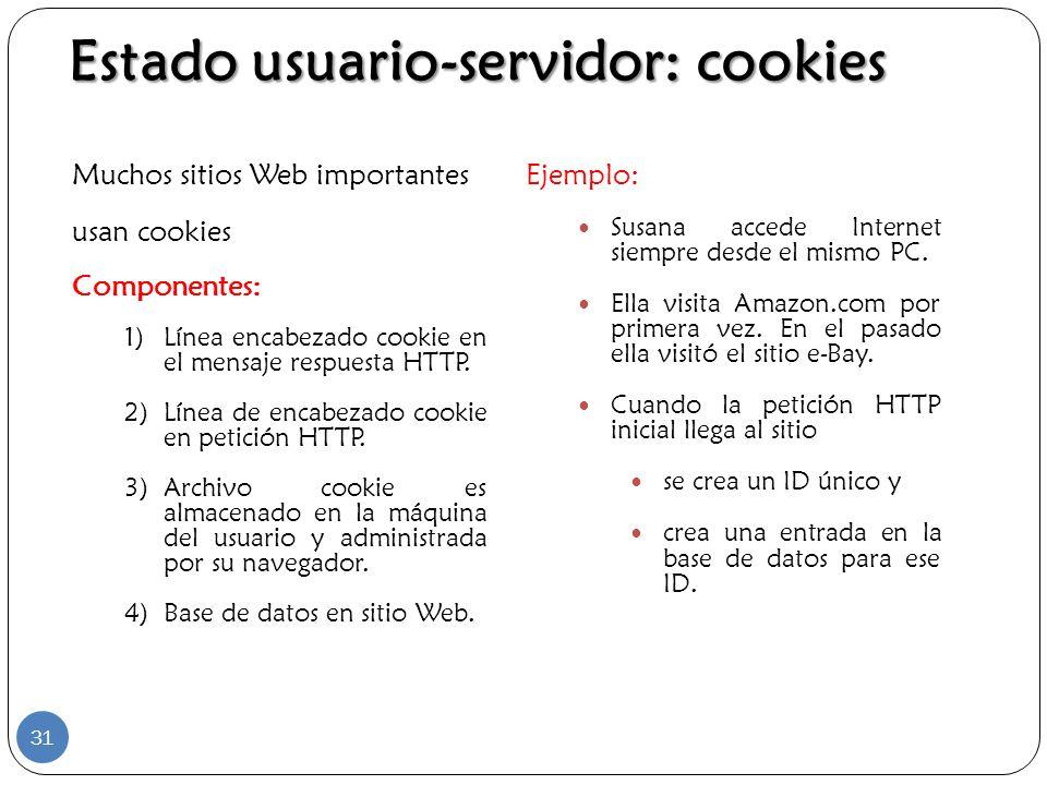 Muchos sitios Web importantes usan cookies Componentes: 1)Línea encabezado cookie en el mensaje respuesta HTTP. 2)Línea de encabezado cookie en petici