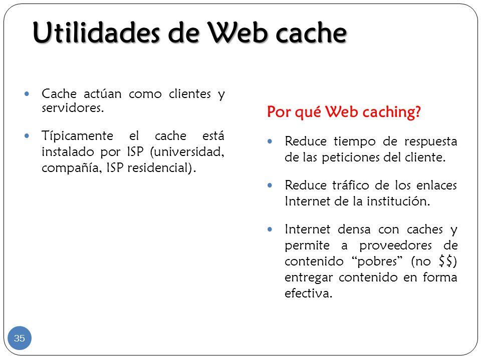 Cache actúan como clientes y servidores. Típicamente el cache está instalado por ISP (universidad, compañía, ISP residencial). Por qué Web caching? Re