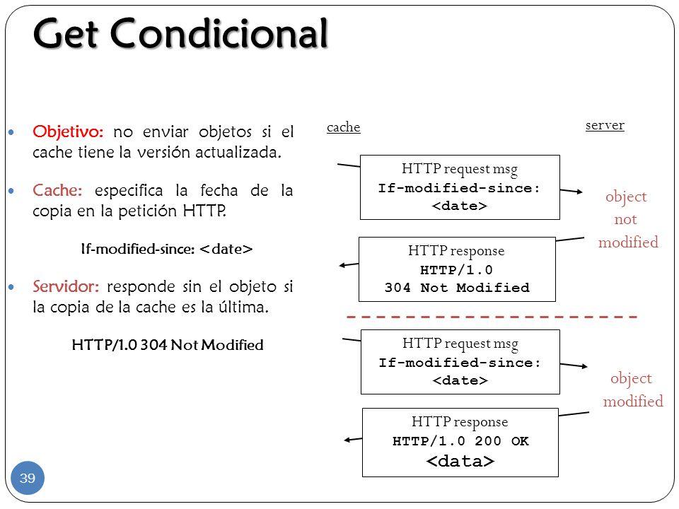 Get Condicional Objetivo: no enviar objetos si el cache tiene la versión actualizada. Cache: especifica la fecha de la copia en la petición HTTP. If-m
